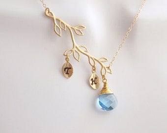 Personalized Initial Two Leaf, Branch, aquamarine crystal Necklace - 14K gold filled necklace