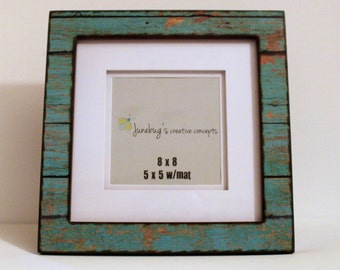 5x5 or 8x8 Large Photo Frame Turquoise Distressed Wood ~ Rustic Wall Decor ~ Rustic Painted Wood Frame ~ Barn Wood Frame ~ Barnwood Rustic