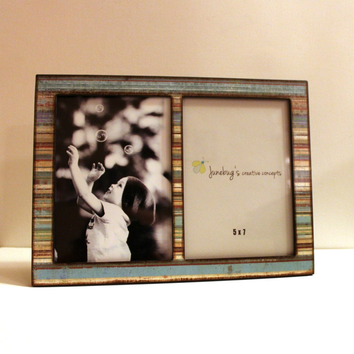 double 4x6 or 5x7 wood picture frame blue brown by junebugscc. Black Bedroom Furniture Sets. Home Design Ideas
