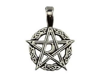 Waxing Moon Pentagram Pendant - Pewter, Crescent moon, Pentacle, Wiccan pagan, Pentagram star, Witchcraft