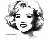Marilyn Monroe Black & White Watercolor Fashion Illustration Painting Fine Art Print