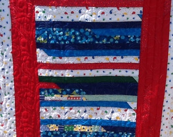 Jelly roll red, white and blue fun day quilt