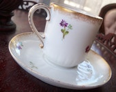 Haviland Limoges Demitasse Cup Saucer CFH GDM Hand Painted France CH Field Tiny Scattered Flower Buds