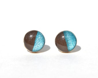 Chocolate and blue topaz studs. Color block Two tone post earrings. Wood jewelry. Starlight woods. Eco friendly jewelry.