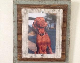8 x 10 Rustic Distressed Handmade Picture Frame - Slate Green, Wood & Cream