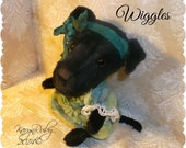 PDF EPattern  to make 7 inch Pitbull / Lab Cross Pup 'Wiggles'  Vintage Style Viscose by Artist KarynRuby