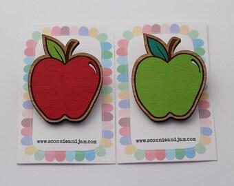 CUSTOM TEACHERS NAME on this Laser cut wood brooch, apple brooch - school teacher gift