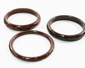 1930s bakelite bangles russet chocolate brown carved stack set trio