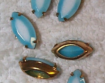 Vintage Blue Givre Marquise Glass Stones in Brass Settings