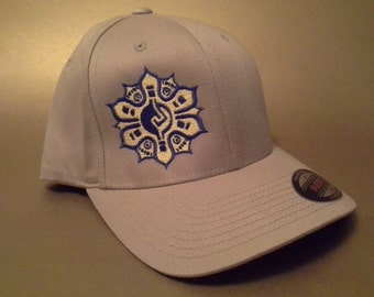 Mayan Flower Flexfit Hat curved bill made to order FREE SHIPPING