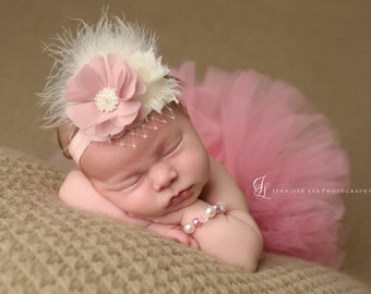 Tutu and Headband - Vintage Pink - Newborn Tutu - Girls Infant Baby Child Toddler Tutu