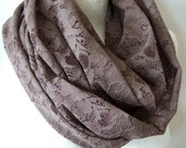 Tobacco brown lace scarf, woodland shawl wrap, Circle loop infinity scarf, woodland wedding lace scarf, gift under 25 dollars