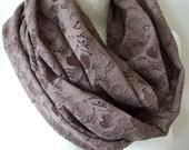 Tobacco brown lace scarf, woodland shawl wrap, Circle loop infinity scarf, woodland wedding lace scarf, gift under 25 dollars