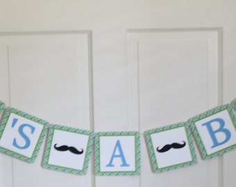 MR MUSTACHE Green Light Blue Plaid It's A Boy Baby Shower Banner - Party Packs Available