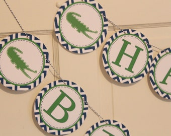 PREPPY CHEVRON ALLIGATOR Happy Birthday Party Banner Green Blue - Party Packs Available