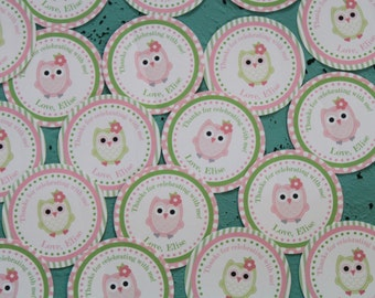 LOOK WHOOO'S .... OWL Theme Birthday or Baby Shower  Favor Tags or Stickers set of 12 One Dozen