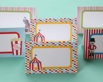 BIG TOP CIRCUS Birthday or Baby Shower Buffet Cards Table Tents Food Labels Signs {Set of 8} - Party Packs Available