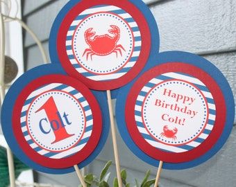 CRAB SHACK Happy Birthday Party or Baby Shower Centerpiece Sticks Set of 3