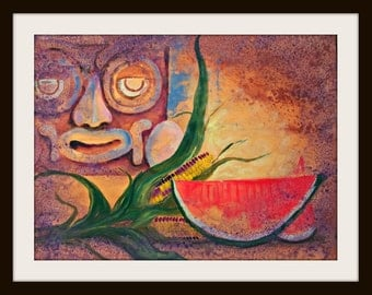 "Mayan naive art original Mexican painting red watermelon corn and Mayan mask 19"" x 25"" modern home decor SUNDAY SALE"