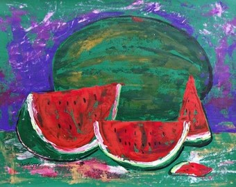 Watermelon painting still life impressionistic red and green acrylic  on paper dinning room wall art