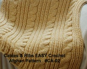 Crochet Blanket  Pattern. Cables & Rib EASY Crochet Afghan Pattern. Quick Project - Crochet Cable Pattern