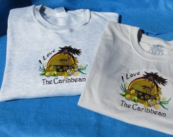 Embroidered I love the Caribbean T Shirt
