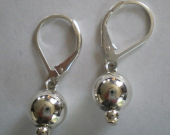 Sterling Silver Ball Earrings on Lever Ear Wires