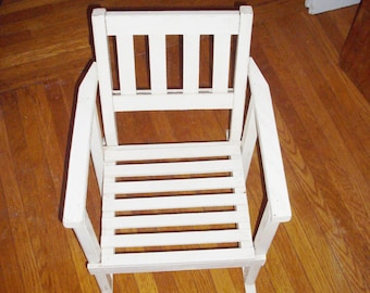 Vintage Child's Rocker Wood Slat Mission Style Rocking Chair Large Doll Chair Ivory