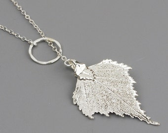 Silver leaf necklace etsy aloadofball Image collections