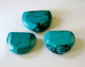 Natural Turquoise Focal Bead Faceted Edges Med Blue Green AAA 3 Pieces