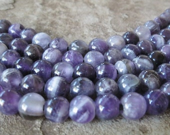 10 MM Round Amethyst Large Hole Bead  Big 2.5 mm Hole Purple Gemstone For Leather 10 Beads