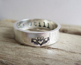 Claddagh Sterling Silver Ring - Silver Band