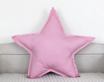 Star Pillow  - primrose pink, soft cotton