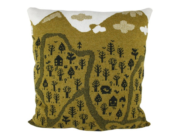 Nature Trails Large wool / leather pillow - green, forest green 23x23, includes insert