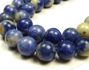 6mm Sodalite Natural Gemstone Beads - 15.5 Inch Strand - Round Beads, Denim Blue, Light Gray, Rustic - BG42