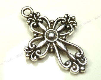 Bulk 18 Cross Charms Double Sided Antique Silver Tone Metal - 28x20mm - Very Detailed - BK33