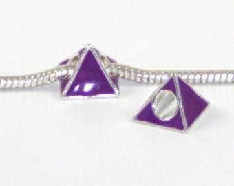 3 Beads - Purple Triangle Neon Enamel Silver European Charm Bead E0751