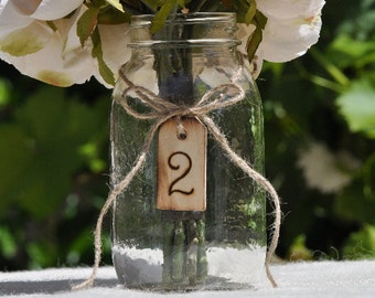 Hand Engraved Wooden Tag Table Numbers- Rustic/ Shabby Chic Wedding