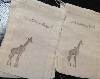 Giraffe Muslin Bags- Giraffe treat bags-Circus muslin bags-circus animal party favors -4x6