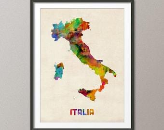 Italy Watercolor Map, Italia Map, Art Print (433)