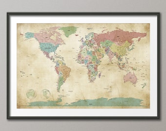 Political Map of the World Map Old Style, Art Print, 24x36 inch (946)