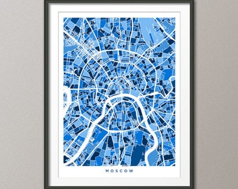 Moscow Street Map, Russia, Art Print (497)