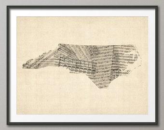 North Carolina Old Sheet Music Map USA, Art Print (57)