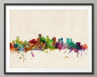 Boston Skyline, Boston Massachusetts Cityscape Art Print (529)