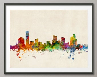Grand Rapids Skyline, Grand Rapids Michigan Cityscape Art Print (211)