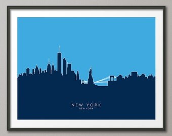 New York Skyline, NYC Cityscape Art Print (813)