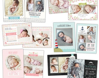 INSTANT DOWNLOAD - Birth announcements Photoshop template- E896
