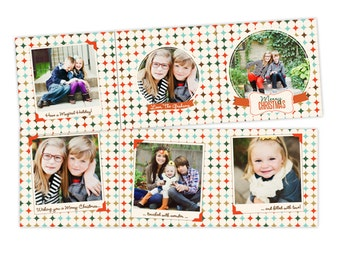 INSTANT DOWNLOAD - 5x5 Christmas Accordion Card Photoshop Template - E952