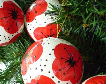 Christmas Ornaments With Red Poppies - Set of 4