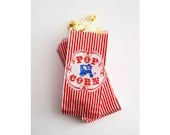 Popcorn Bags! 50 VINTAGE Wagon Red Striped Gusseted Paper party treat Carnival Circus RETRO Bag